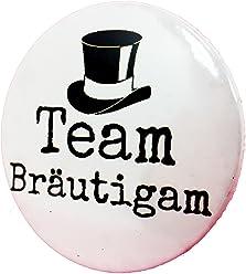 Team Bräutigam Button - Anstecker Zylinder Hut Mann edel JGA Junggesellenabschied 3,8 cm