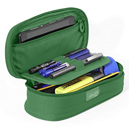 PracticOffice - Estuche Multiuso Megapak Oval para Material Escolar, Neceser de Viaje o Maquillaje. Medida 22 cm. Color Verde Oscuro