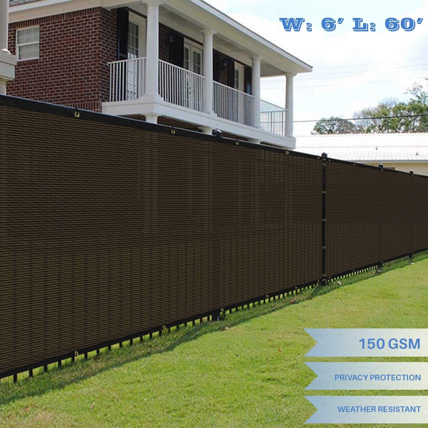 E&K Sunrise 6' x 60' Brown Fence Privacy Screen, Commercial Outdoor Backyard Shade Windscreen Mesh Fabric 3 Years Warranty (Customized Set of 1