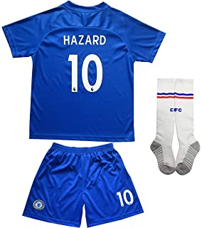 LES TRICOT 2018/2019 Chelsea Home #10 Hazard Football Futbol Soccer Kids Jersey Shorts