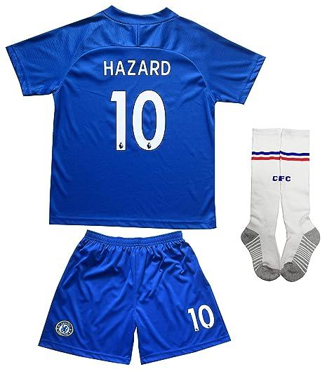 LES TRICOT 2018 2019 Chelsea Home  10 Hazard Football Futbol Soccer Kids  Jersey Shorts bc4304d35