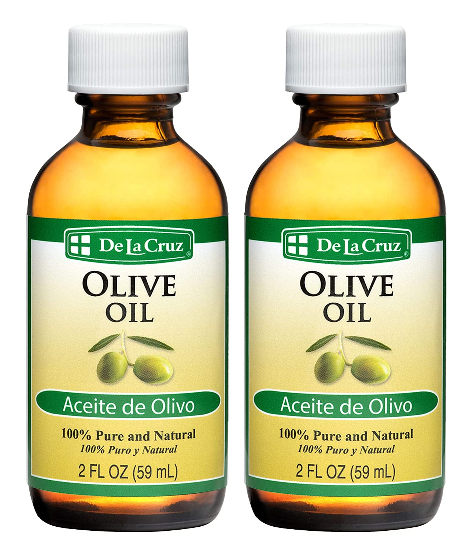 De La Cruz Pure Olive Oil 2 FL. OZ. - Bottled in USA (2 Bottles)