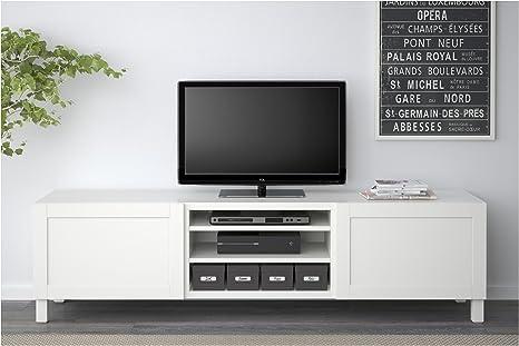 IKEA BESTA - Mueble TV con cajones Hanviken blanco: Amazon.es: Hogar