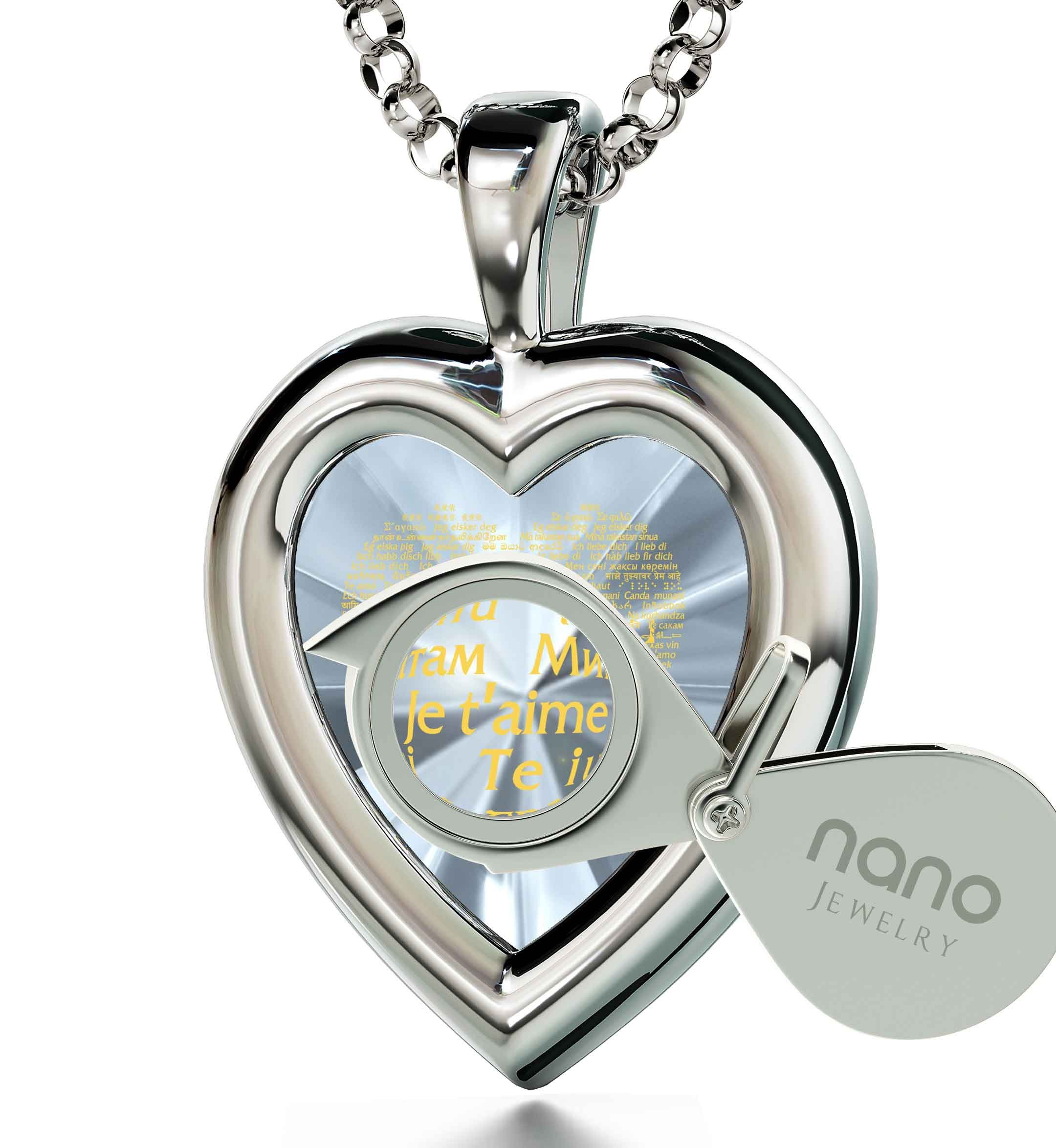 925 Sterling Silver Heart Pendant I Love You Necklace 120 Languages 24k Gold Inscribed Clear CZ, 18''