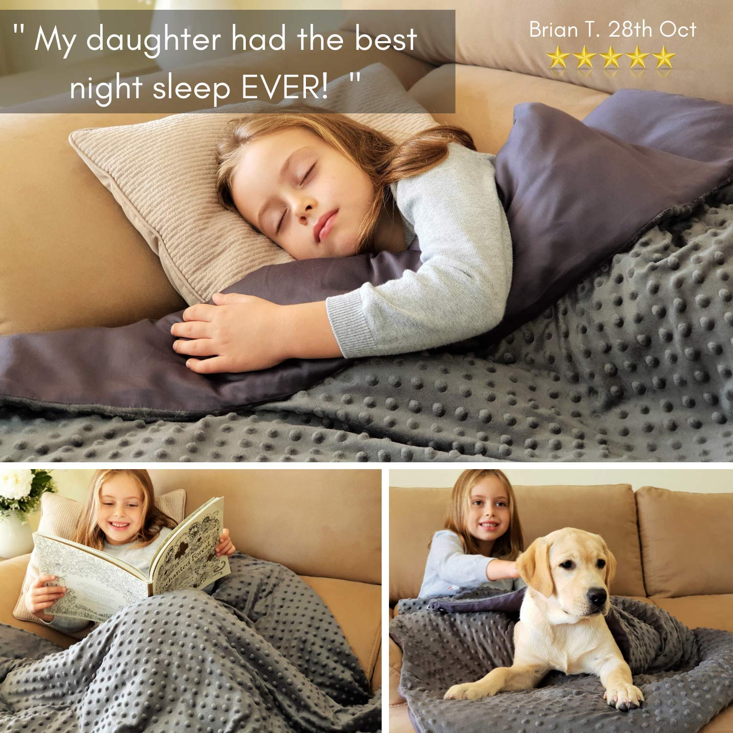 Snuggle Pro Weighted Blanket for Kids, 7 lbs Heavy Blanket, 41''x60'' Twin Size. Set with Bamboo and Minky Duvet Cover