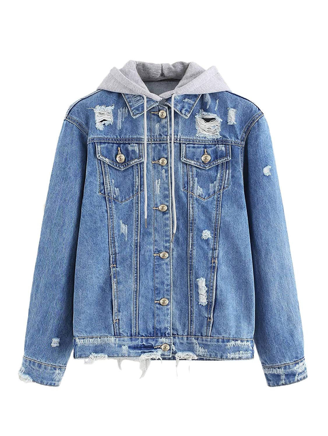 bluee Floerns Women's Washed Distressed Button Front Hooded Jean Denim Jacket