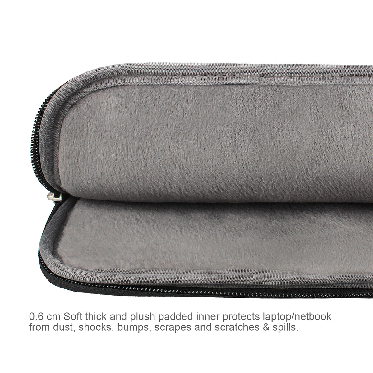 Arvok 15 15.6 Inch Multi-Color & Size Water-resistant Laptop Sleeve Bag with Handle/Notebook Computer Case/Ultrabook Briefcase Carrying Bag, Black by ARVOK (Image #4)