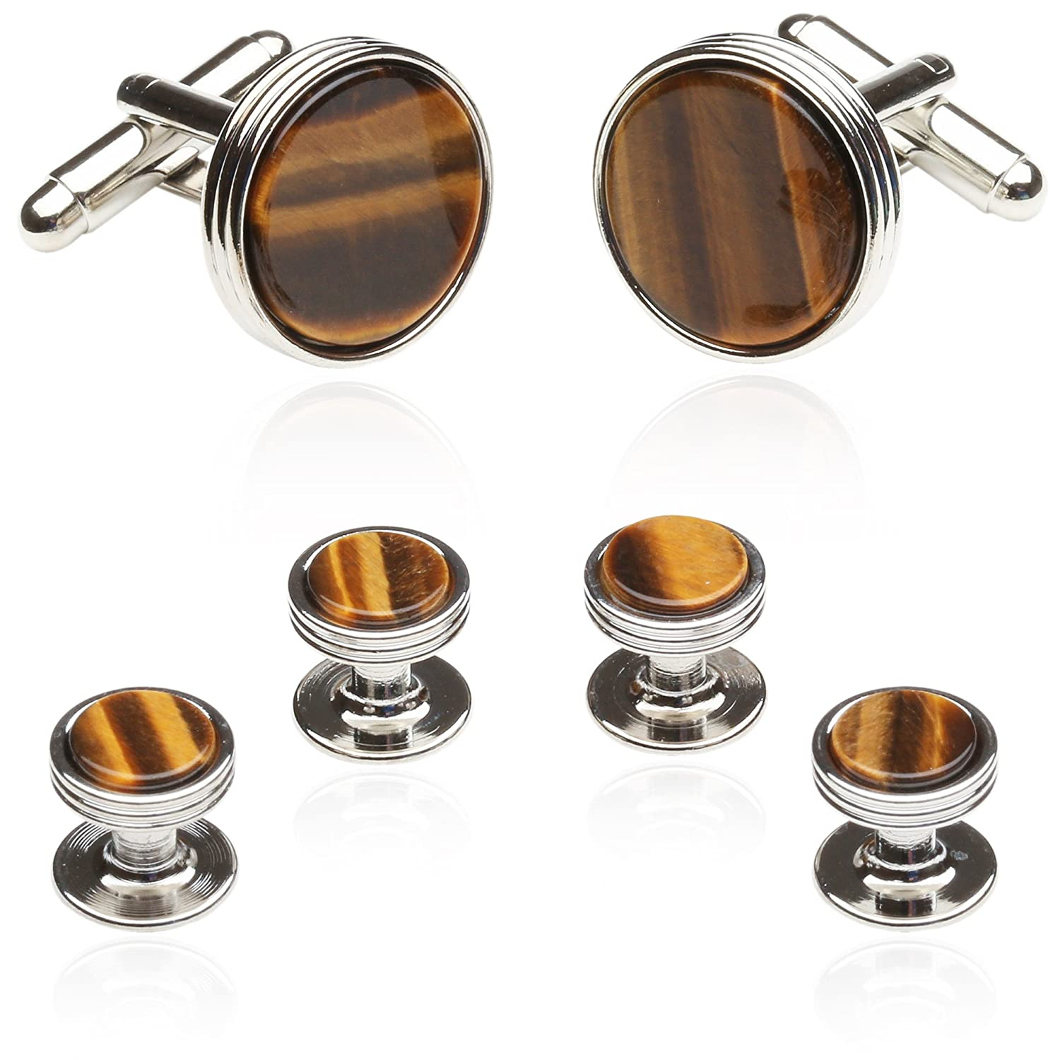 Tigers Eye Tuxedo Formal Set Cufflinks Studs Silver by Cuff-Daddy CD-1209