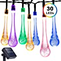 DecorNova Solar Raindrop 20-Foot 30-LED String Lights