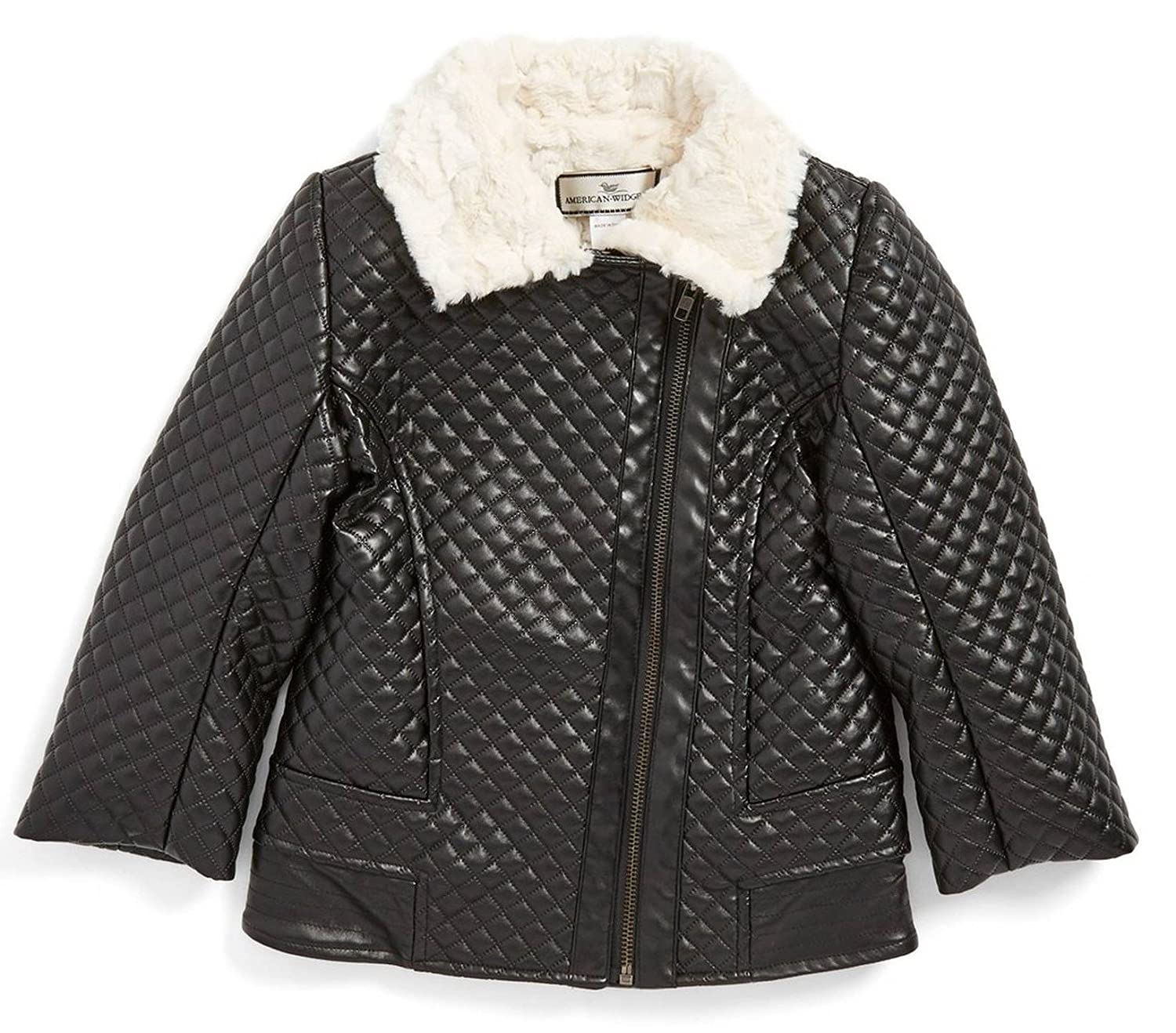 Sizes 4-12 Widgeon American Quilted Faux Leather and Fur Collar Moto Jacket