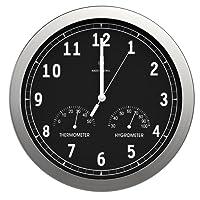bonVIVO Timerider, Funkuhr Aus Aluminium, Große Wanduhr für Wohnzimmer, Küche Oder Büro, Höchste Genauigkeit Der Wanduhr Per Funk, Integriertes Thermometer Und Hygrometer, Durchmesser: 30,5 cm