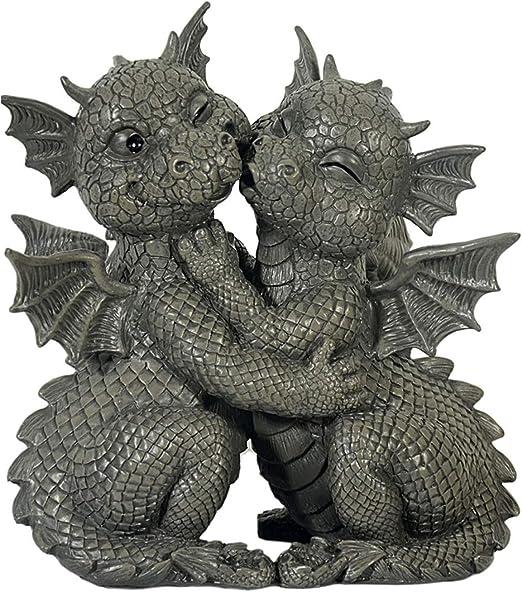 Dragón! Jardín! Amantes! Bésate! - MystiCalls - GD-197 - Decoración de estatuilla de jardín Gargoyle: Amazon.es: Jardín