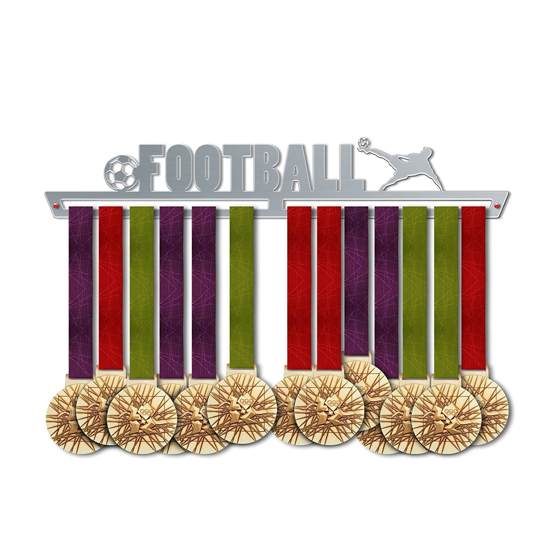 VICTORY HANGERS Soportes Para Medallas FOOTBALL Gancho Exhibidor de Medallas V1| Medallero | Elegante Expositor Para Medallas * 100% Acero Inoxidable | Percha Para Medallas | Para Los Campeones ! 1329334645