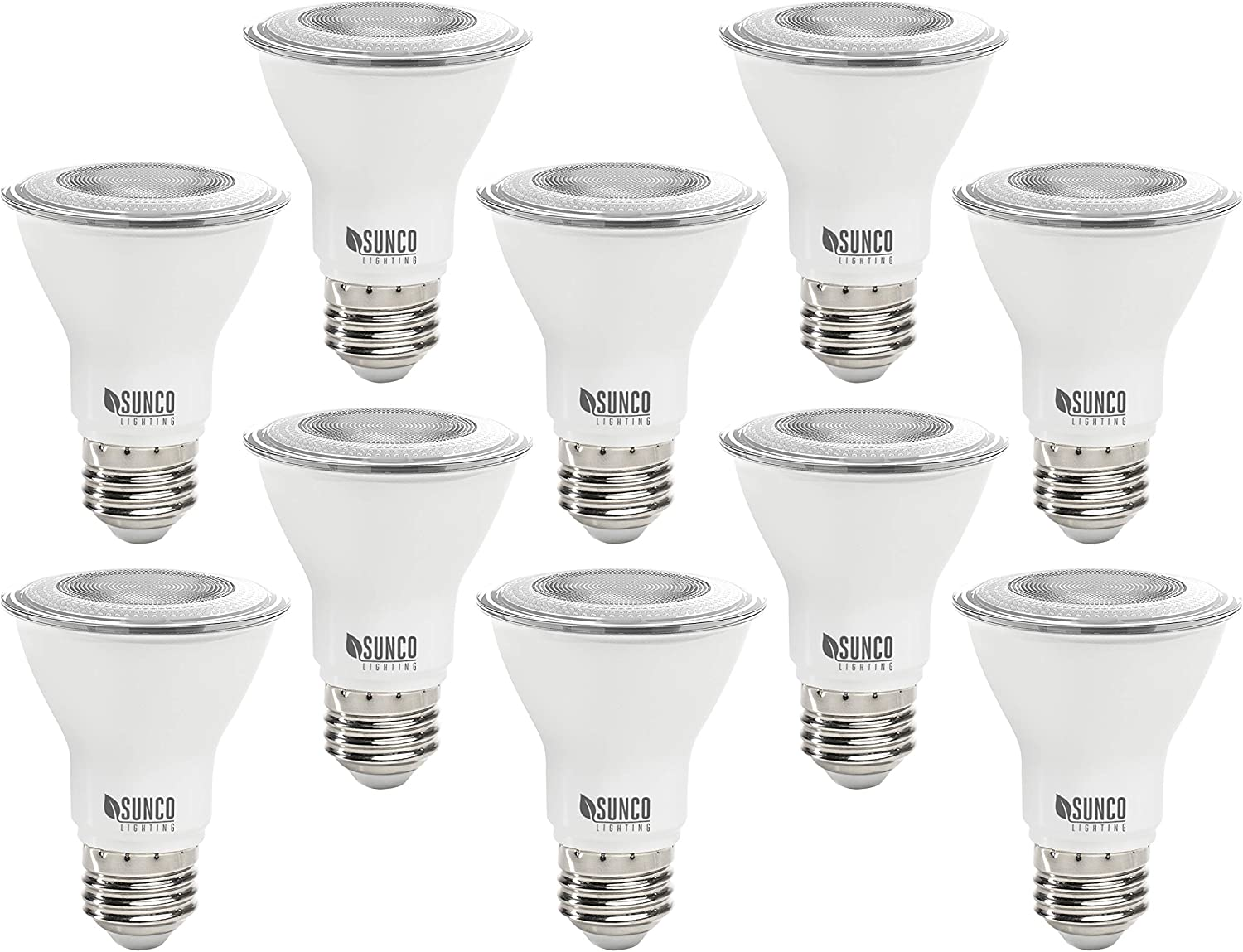 Sunco Lighting 10 Pack PAR20 LED Bulb, 7W=50W, Dimmable, 6000K Daylight Deluxe, E26 Base, Indoor/Outdoor Spotlight, Waterproof - UL & Energy Star