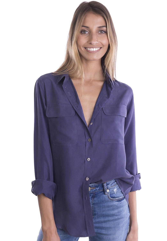 d007c3f0c1f22 Top2  CAMIXA Women s 100% Silk Blouse Long Sleeve Casual Sand Washed Buttondown  Shirt