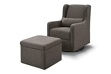 Awe Inspiring Carters By Davinci Adrian Swivel Glider With Storage Ottoman In Charcoal Linen Water Repellent And Stain Resistant Fabric Pabps2019 Chair Design Images Pabps2019Com