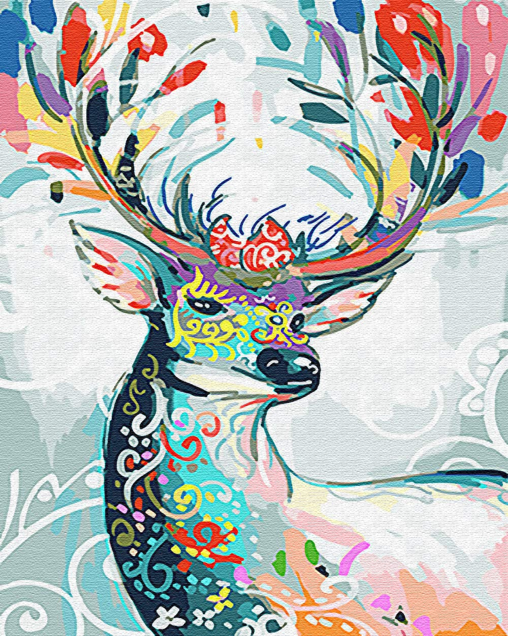 16 x 20 Color Deer Pattern iCoostor Paint by Numbers DIY Acrylic Painting Kit for Kids /& Adults Beginner