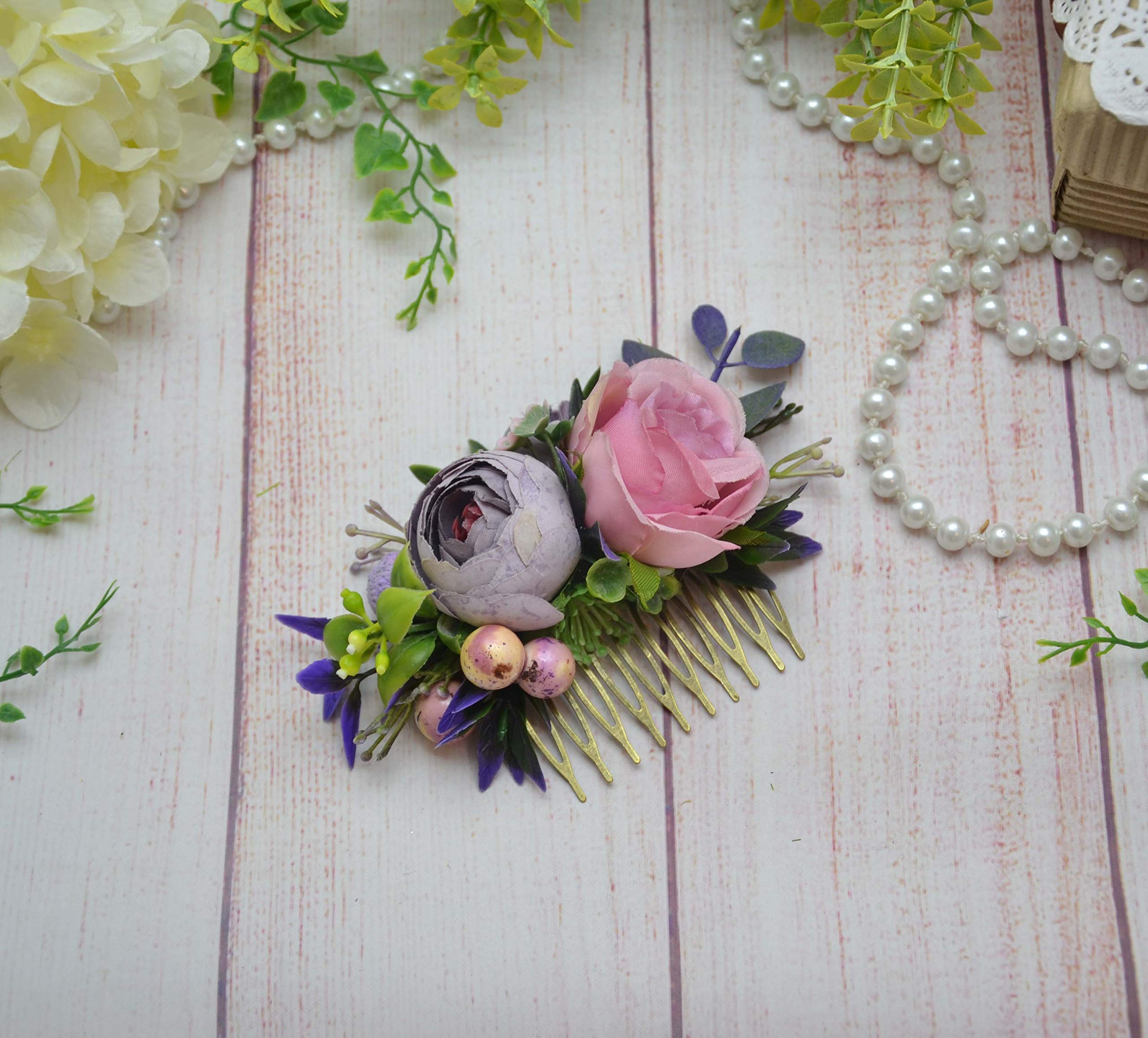 Blush purple flower comb Boho wedding headpiece Bridal floral hairpiece Bridesmaid hair comb slide by OlgasCreativeStudio