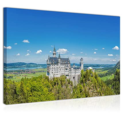 d206f4ef76 Topquadro Quadro Stampa su Tela 70x50cm, Castello delle Fiabe, Montagne e  Alberi, Neuschwanstein Baviera - Decorazioni Interni - Pronto da Appendere:  ...