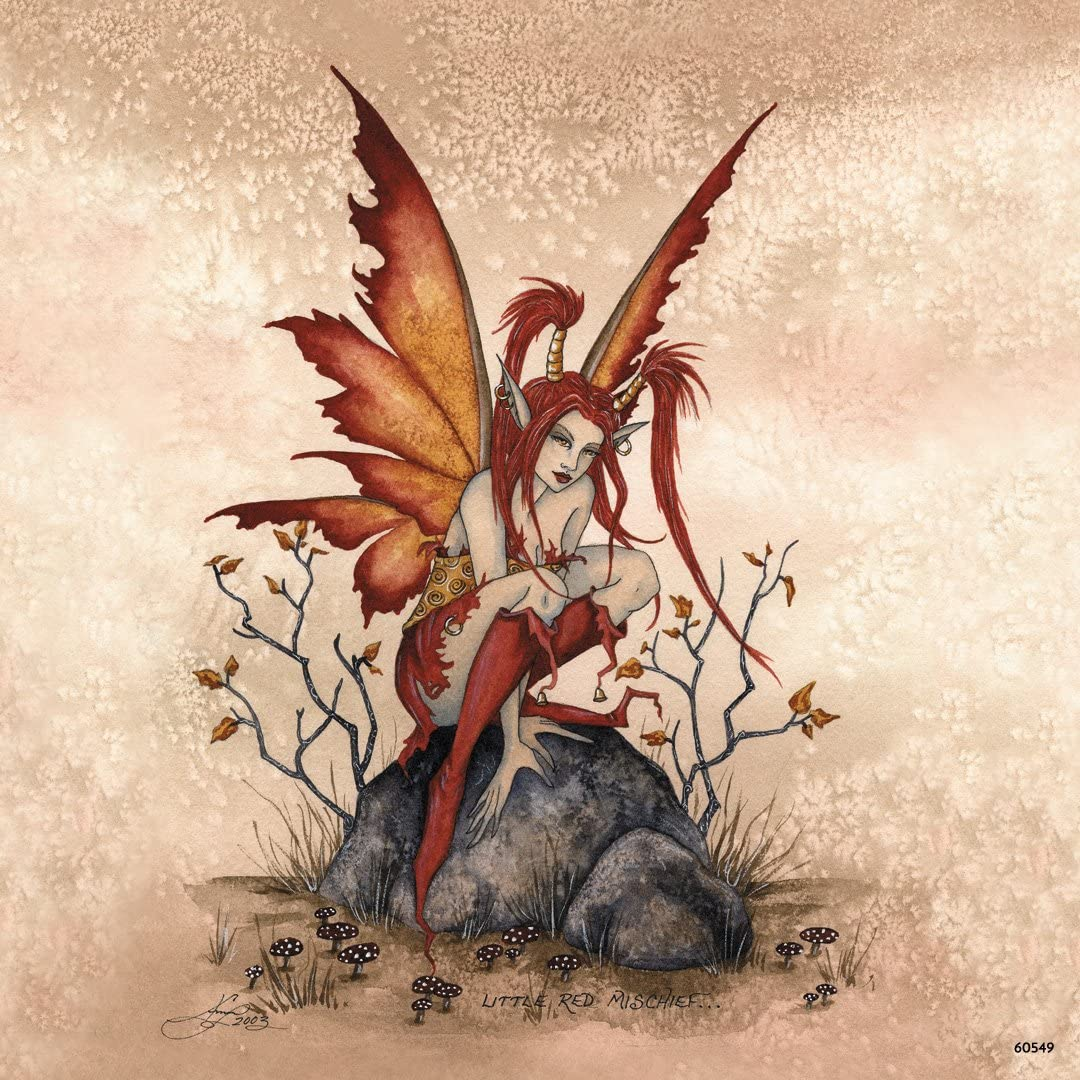 Tree-Free Greetings Refrigerator Magnet, 3.5x3.5 Inches, Little Red Mischief Fairy by Amy Brown (60549)
