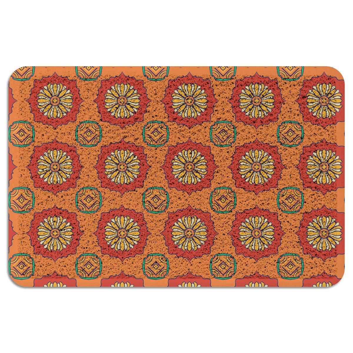 Indoor/Outdoor Doormat,Floral Durable Heavy Duty Shoes Scraper Mat, Ethnic Geometric Warm Color Easy Clean Rug for Pet Bowl(24''x35'',W x L)