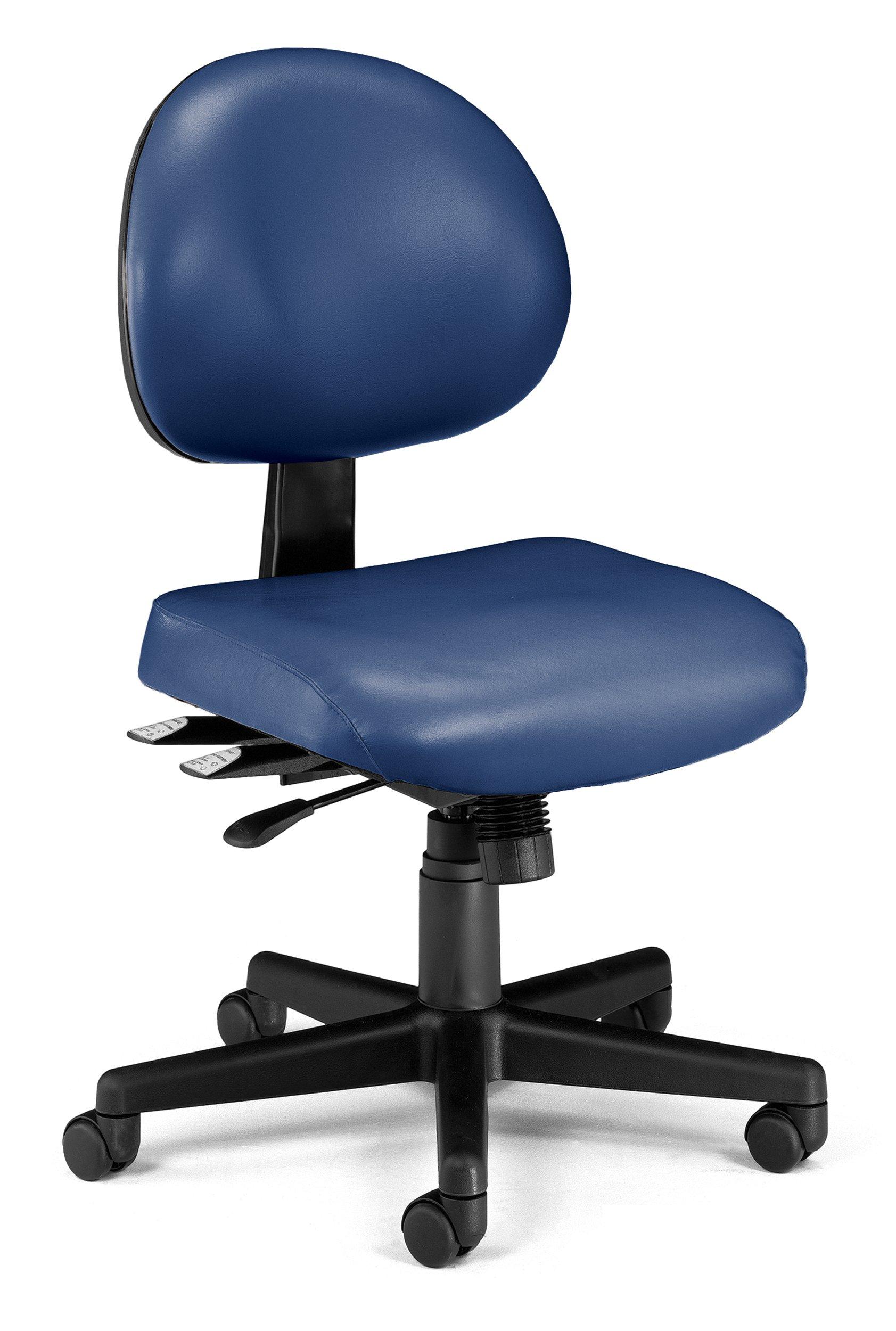 OFM 24-Hour Vinyl Multi-Adjustable Armless Task Chair, Navy