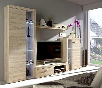 Wohnwand DANCE Anbauwand Schrank Möbel Wohnzimmer Modernes Design Matt  Sonoma (Korpus: Sonoma / Front