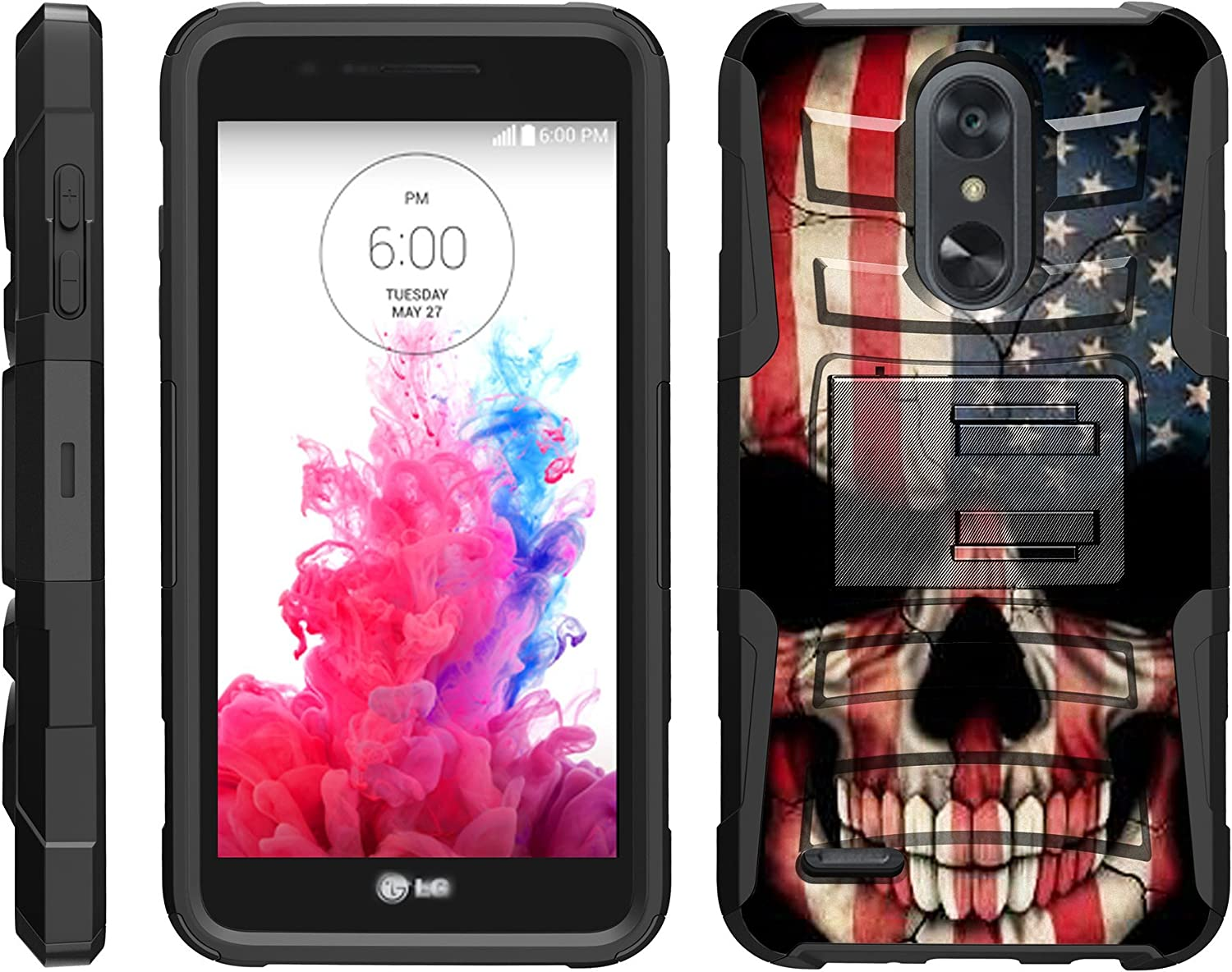 TurtleArmor | Compatible with LG Aristo 3 Case | Risio 3 | Rebel 4 | Tribute Empire [Hyper Shock] Hybrid Dual Layer Armor Holster Belt Clip Case Kickstand - US Flag Skull