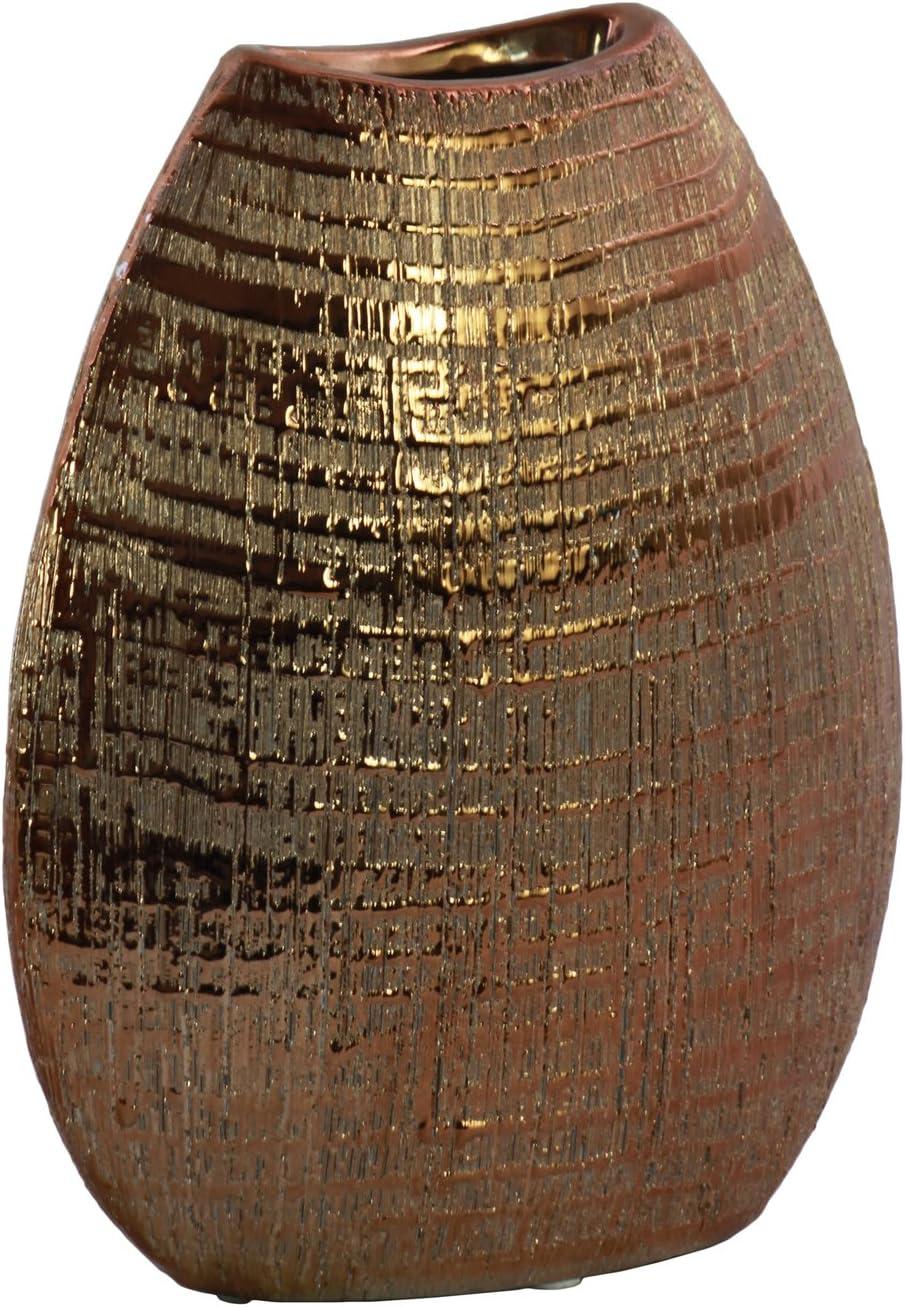 Urban Trends 51714 Ceramic Biconvex Crescent Vase with Ribbed Design, Copper