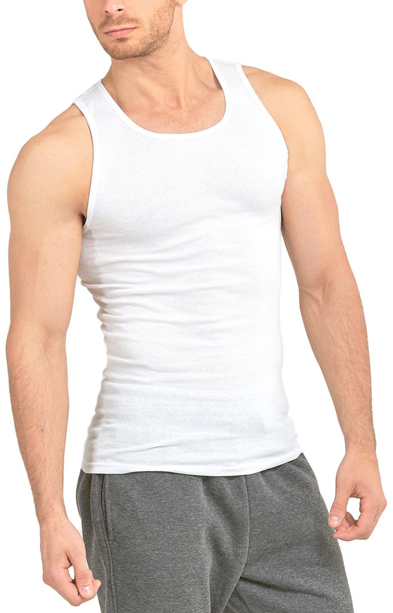 ToBeInStyle Men's Pack of 4 Fine Ribbed Scoop Neck Tanks - White - Medium