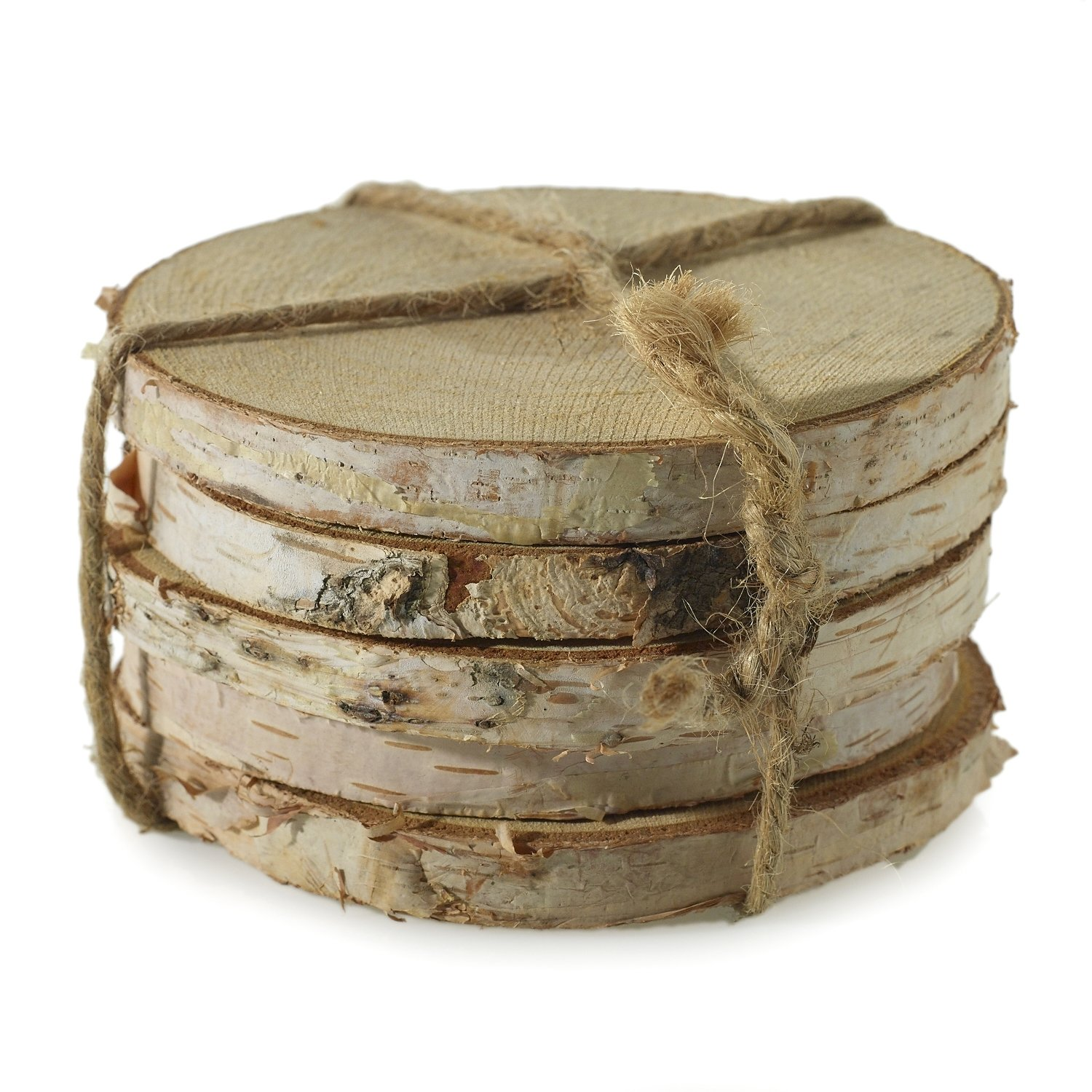 Wooden Birch Round Coasters - Set of 5 - 4 x 0.5 Inches - Real Wood Discs with Bark - Rustic Table Pieces for Home, Office, or Wedding