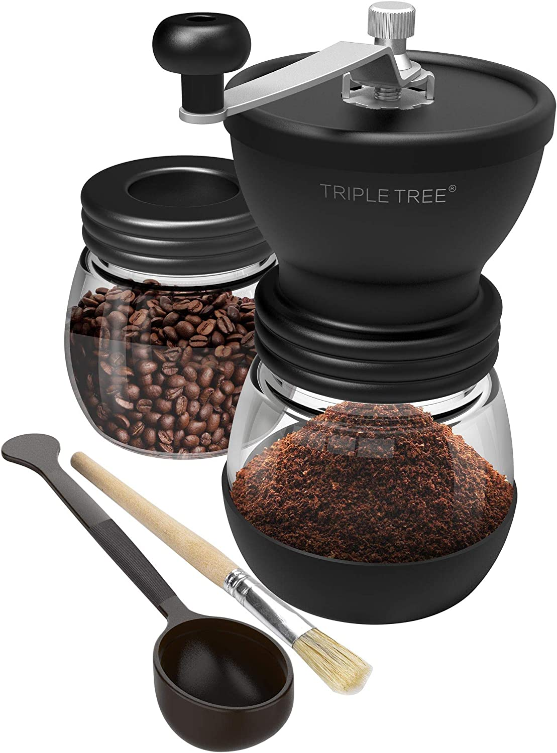 Glass Storage Jars Silicone Non-Slip Mat Easy to Clean Portable Hand Coffee Mill with Adjustable Ceramic Burrs Silicone Dust-Proof Cover for Beans Cleaning Brush Black BOCHEN Premium Manual Coffee Grinder
