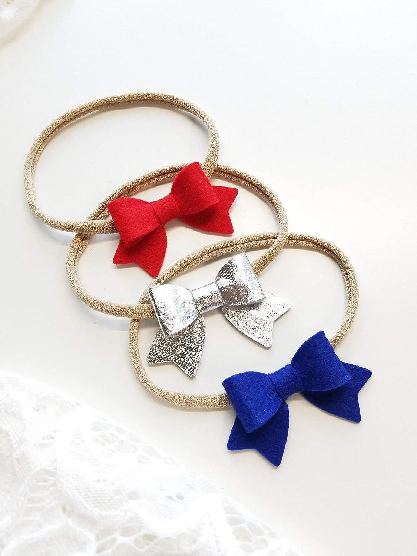 White Headband Red Baby Headband Royal Blue Headband Patriotic Headband Set Sequin Bows Patriotic Headbands Newborn Headbands