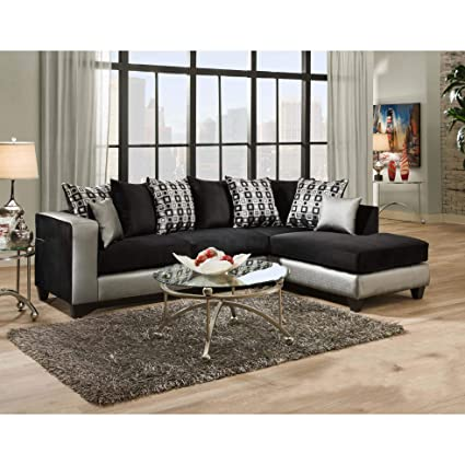 Amazon.com: Sofa Trendz Darlene Two-Tone Black Fabric ...