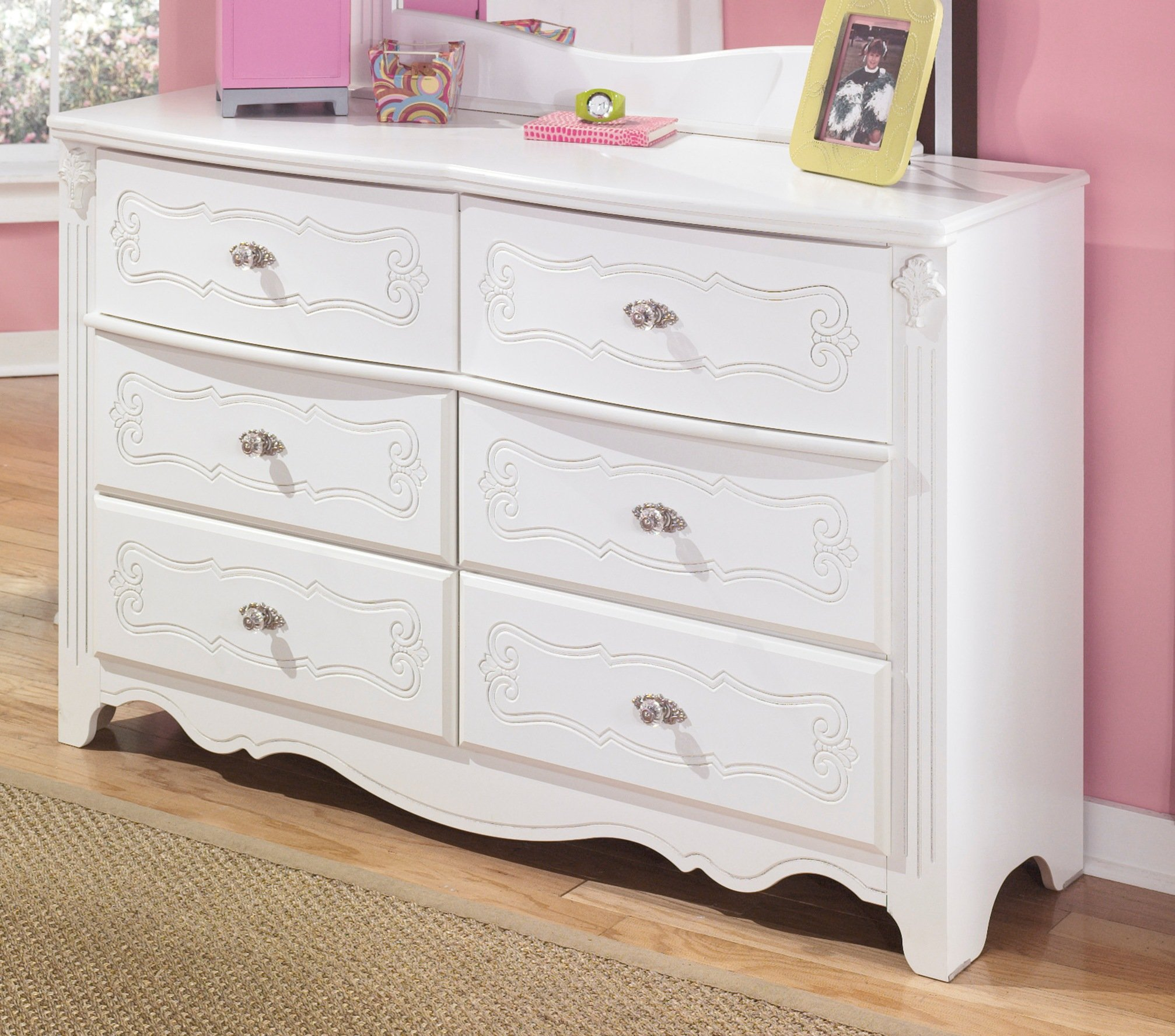 Ashley Furniture Signature Design - Exquisite Dresser - 6 Embossed Drawers - Kids Room - French Styling - White