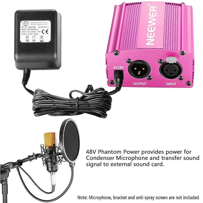 Neewer 1 - Canal 48V Phantom Fuente rojo rosa con adaptador, Cable ...
