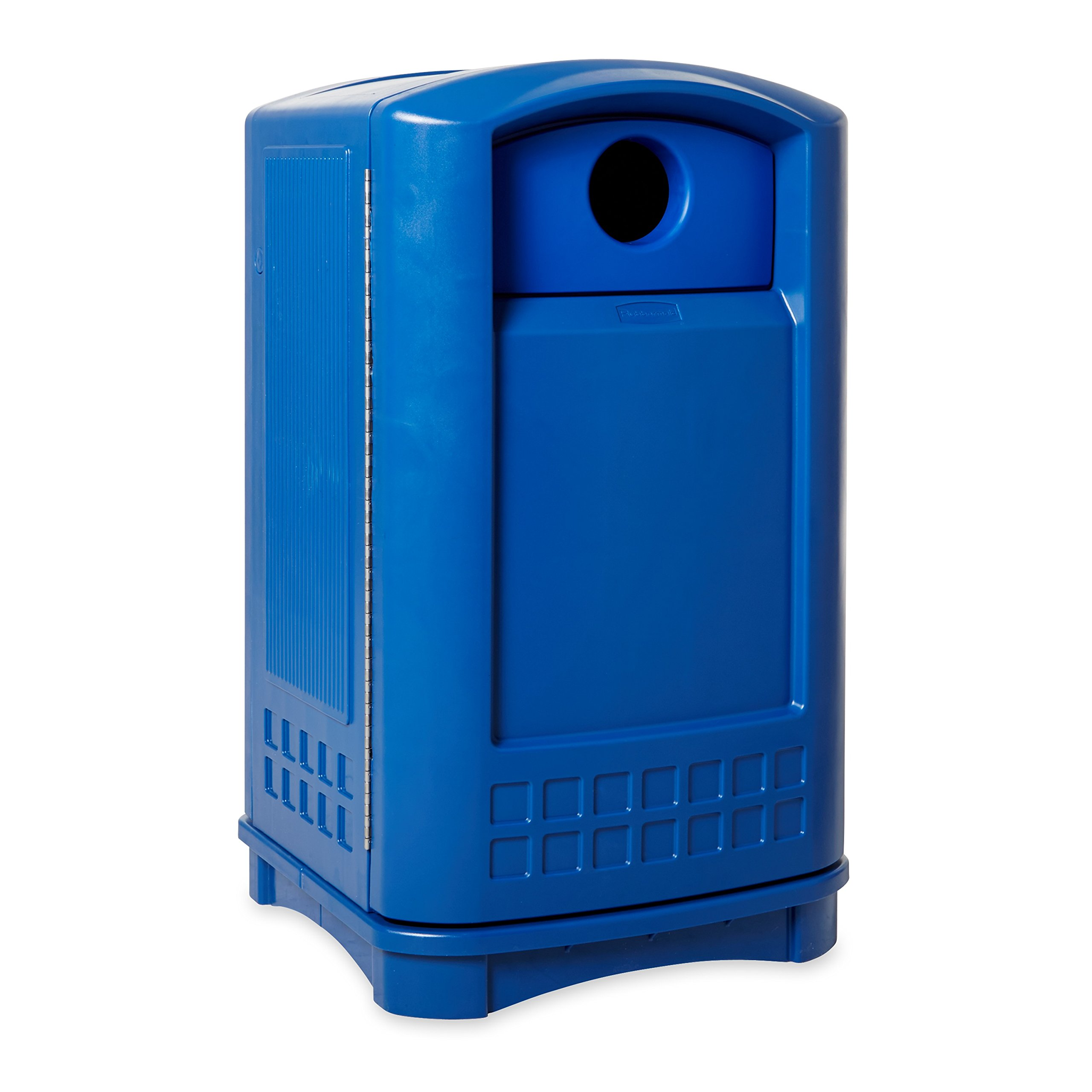 Rubbermaid Commercial Plaza Bottle/Can Recycle Bin, 50 Gallon, Blue, FG396873BLUE
