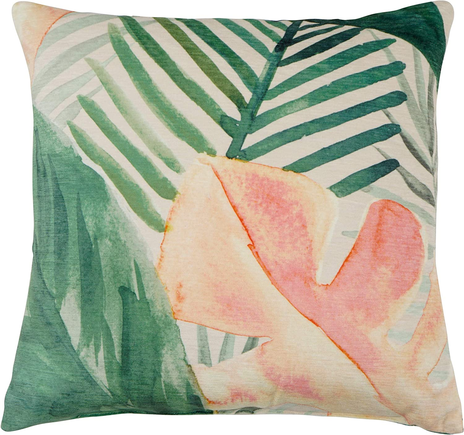 Artisan Home Palm Leaves Decorative Throw Pillow | Indoor & Outdoor Decoration | Fade Resistant | Tropical Decor | Size 16