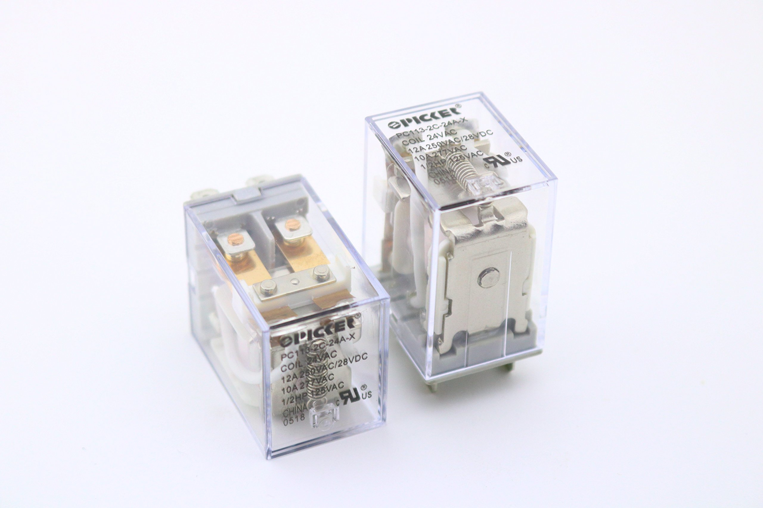(x2) PC113-2C-24A-X-2 | DPDT 24 VAC Coil 12 Amp 250 VAC UL Rated, Miniature General Purpose Ice Cube Relay with Clear Plastic Case | Cross: Song Chuan SCL-DPDT-24VAC; Omron LY2F-AC24