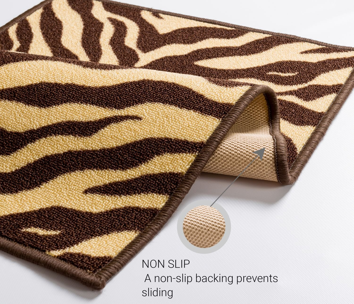 Well Woven Non-Skid Slip Rubber Back Antibacterial 2x5 (1'8'' x 5') Door Mat Runner Rug Brown Zebra Animal Print Stripes Modern Thin Low Pile Machine Washable Indoor Outdoor Kitchen Hallway Entry by Well Woven (Image #5)