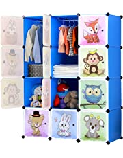BRIAN & DANY 12 Cube Storage Kid Cabinet Wardrobe Toy Book Rack Book Shelve 111 × 47 × 148 cm (Blue)