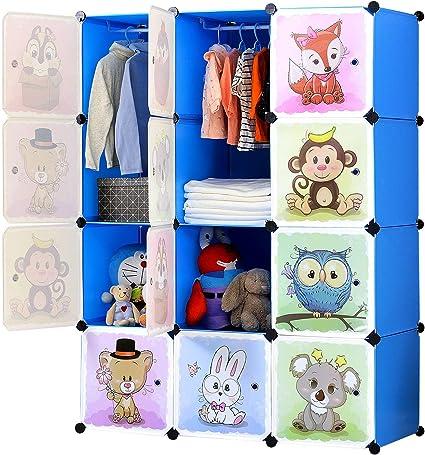 BRIAN & DANY Armario Modular Infantil de Puertas con Motivos de Animales Estanterías por Módulos Armario de Almacenaje, Azul, 110 x 47 x 147 cm