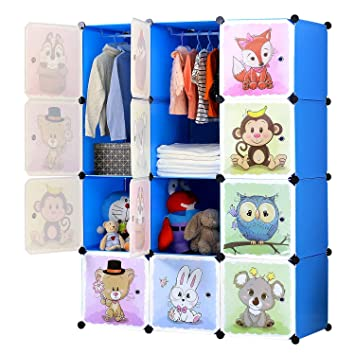 BRIAN & DANY Erweiterbares Kinderregal Kinder Kleiderschrank Stufenregal  Bücherregal mit Türen & 2 Aufhängern, tiefere Fächer als normal (45 cm ...