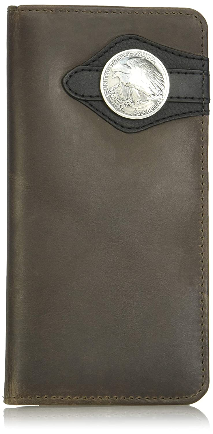 Wrangler Mens Leather Rodeo Wallet Brown Black Half Dollar
