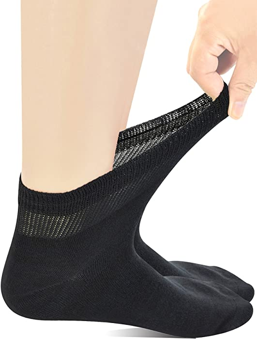 Yomandamor Mens Coolmax Ankle Extra-Wide Diabetic Socks with Seamless Toe,5 Pairs