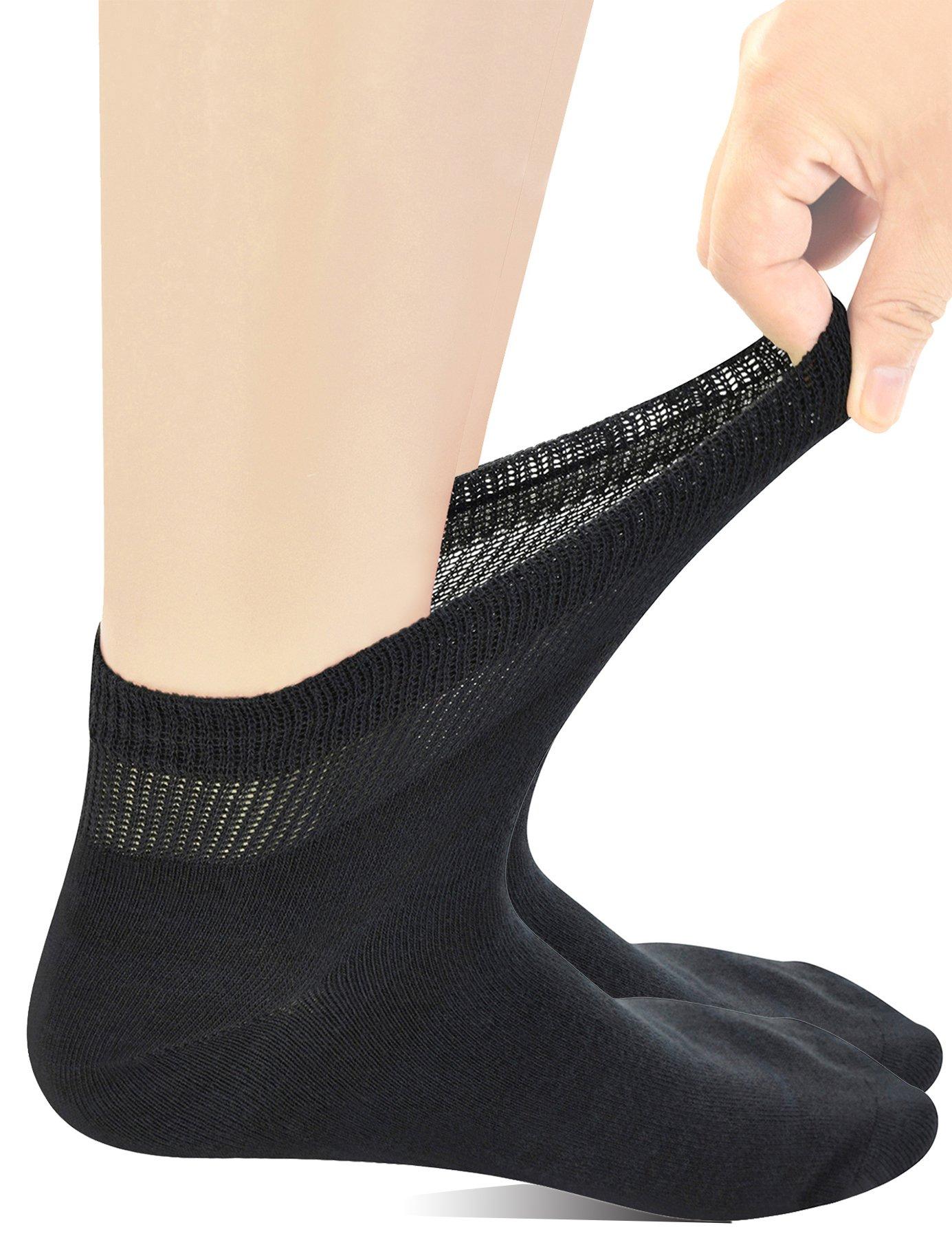 6213cdb9bf9 Yomandamor Mens Coolmax Ankle Extra-Wide Diabetic Socks with Seamless ...