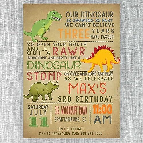 Amazoncom Dinosaur birthday invitation Customizable Handmade