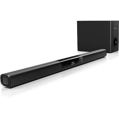Philips HTL2163B/12 Barre de son compacte avec Bluetooth, HDMI ARC, Caisson de basses filaire 120W, Noir