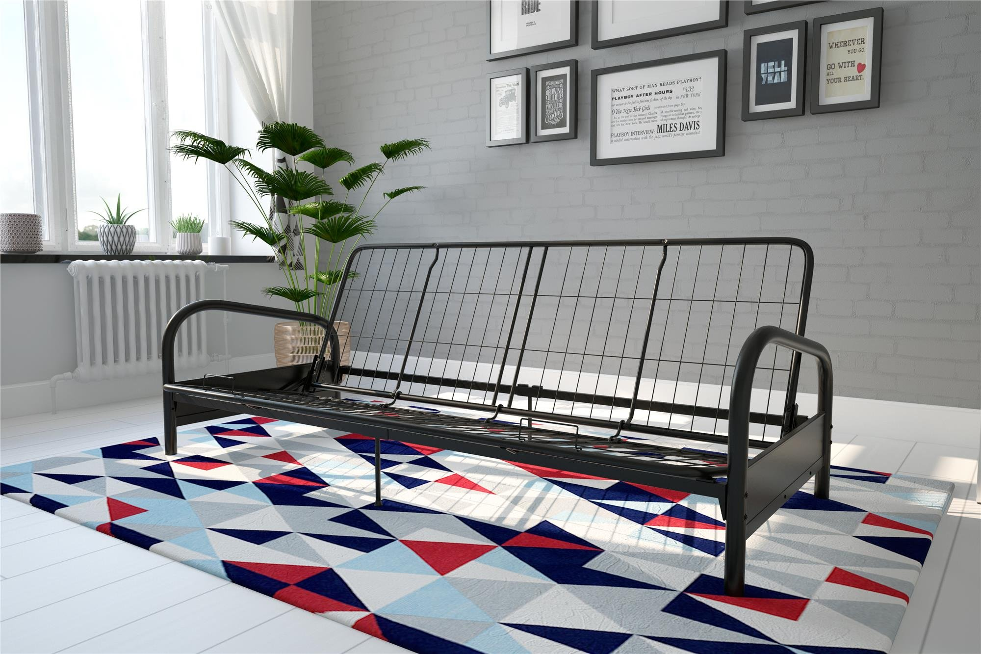 DHP Vermont Metal Futon Frame, Classic Design, Full Sized - Black by DHP