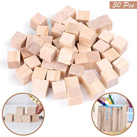 Holzwürfel 30 Stück   Bastelwürfel 3x3cm   Natürlich Unfertige Holzblöcke    Holzwürfel Blanko Deko Holz Basteln